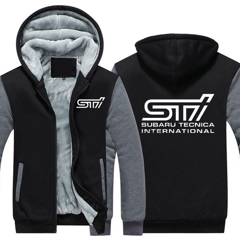 Autumn Winter Coat Car Subaru Sti Logo Thickening Warm Sweatshirts Men's Cotton Casual Coat Fleece Sweatshirts Men Mens Hoodies