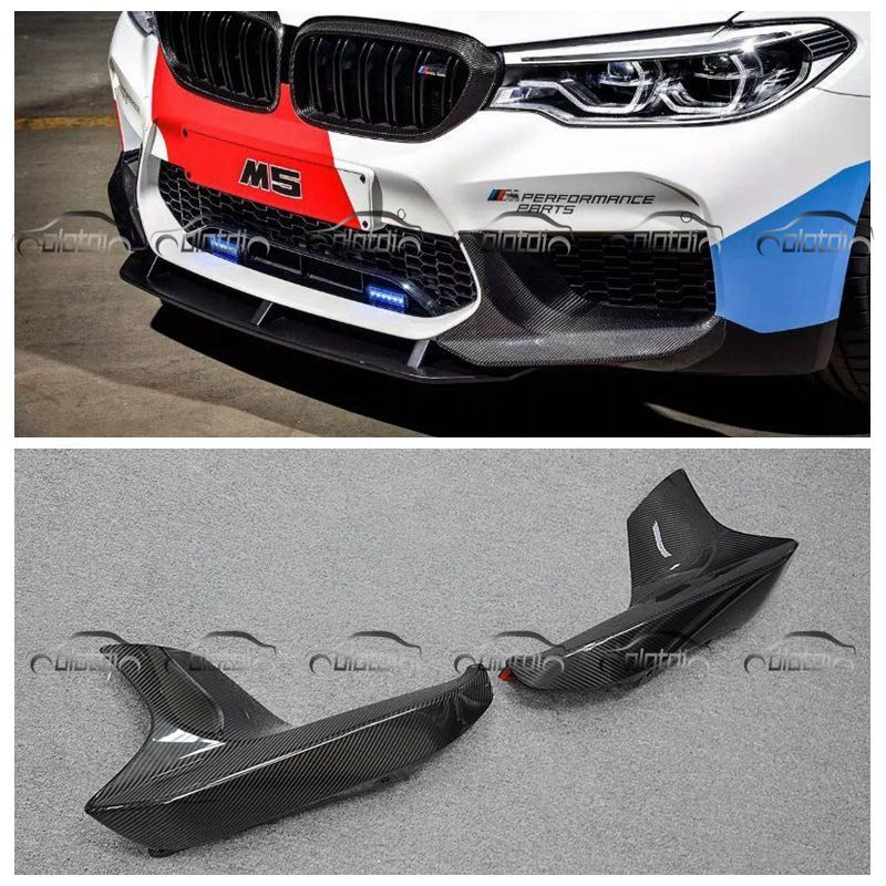 OLOTDI Front Splitter Pieces For BMW F90 M5 Car Styling P Style Carbon Fiber Front Corner Bumper Lip Spoiler Protector