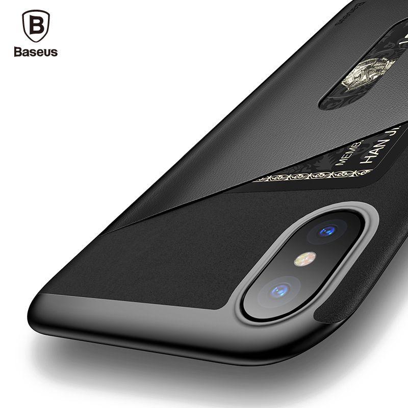 Baseus Carte Poche Cas Pour l'iphone X Capinhas PU En Cuir PC TPU de protection Fente Pour Carte Portefeuille Housse Pour iPhone X 10 IX Coque