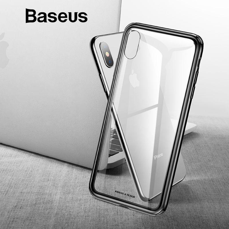 Baseus Luxus Original Gehärtetem Glas Fall Für iPhone Xs Xs Max XR 2018 Telefon Abdeckung Anti Klopfen Zurück Phone Cases für iPhone Xs