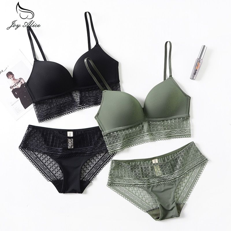 Hot 2018 Brassiere Embroidered Underwear Set ABC Cup New Good Quality Women Bra Set Push Up Lace Bra Thong Sets