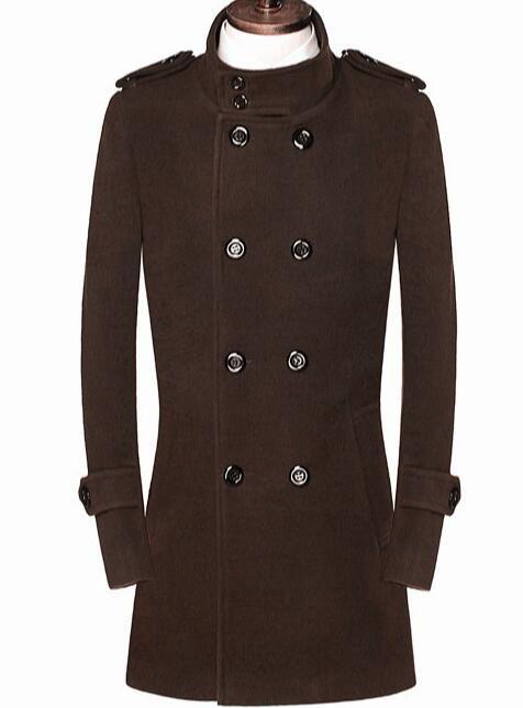 Stand collar casual woolen coat men medium-long overcoat mens cashmere coat casaco masculino inverno erkek england brown black