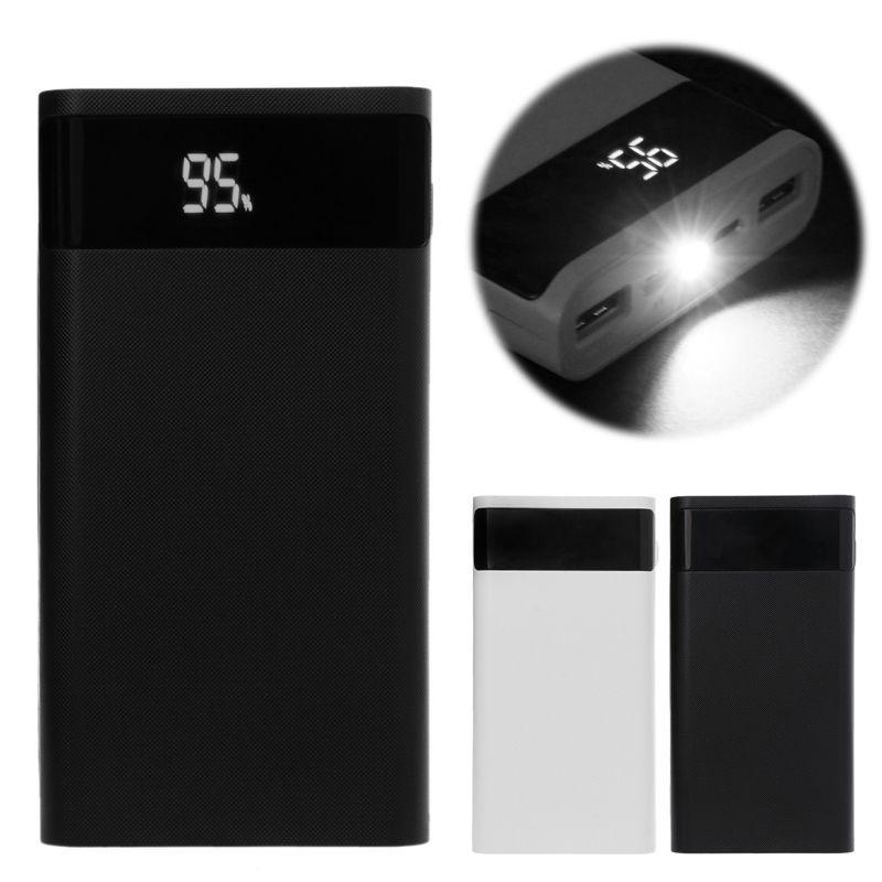QC 3.0 Type C PD 6x18650 batterie batterie externe boîte bricolage boîtier téléphone chargeur boîte lumière LED double USB chargeur Pover banque Case