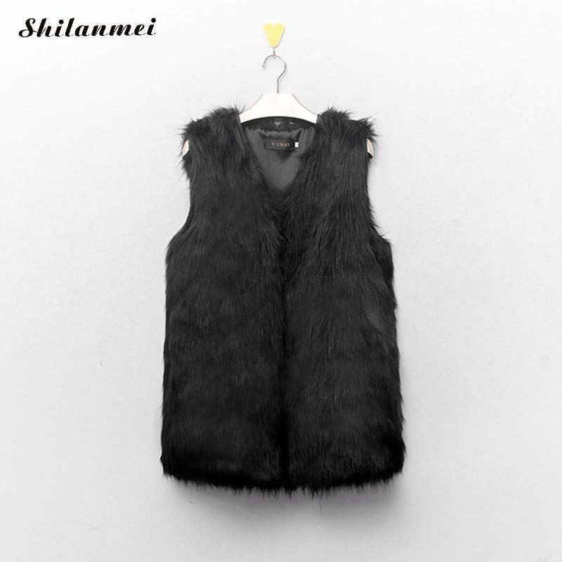 Plus Size 3XL Women Autumn Winter Vest Coat Faux Fake Fur New Sleeveless Fur Outerwear Black V-Neck Women Tank Jacket Coat Femme