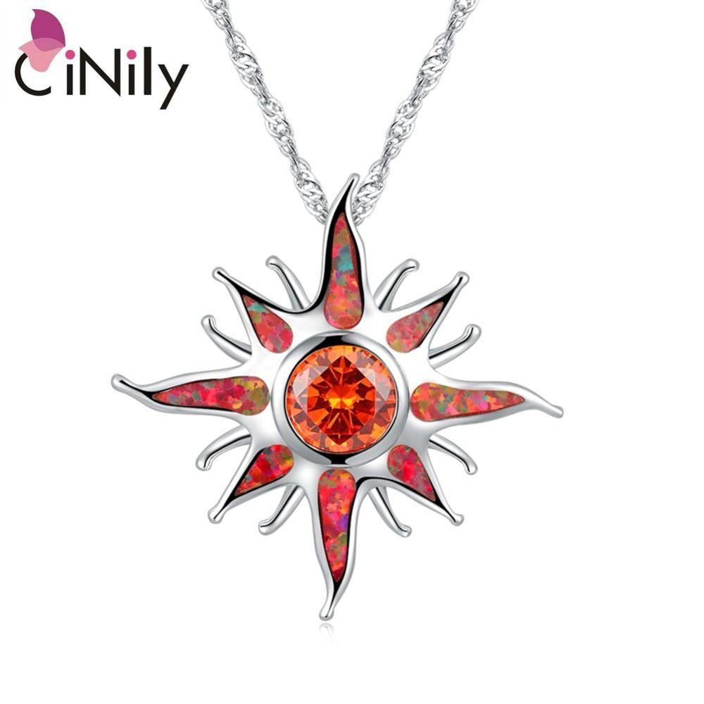 CiNily Starburst feu opale pierre grand Dangle pendentifs argent plaqué solaire Orange grenat soleil charme luxe bijoux femmes filles