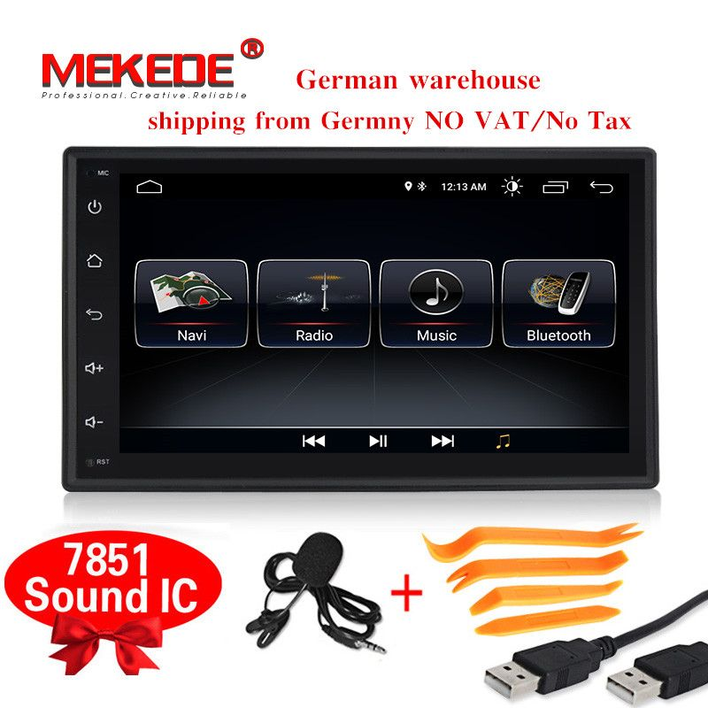 2din universal Android8.0 HD full touch screen 1024*600 Car gps navigator Multimedia player with wifi RDS OBD2 mic tool gift