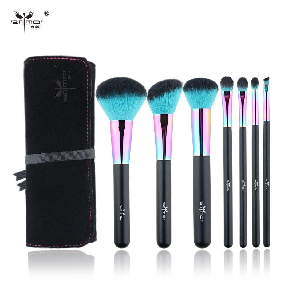 Anmor Arc-En-Maquillage Pinceaux Professionnel Pincel Maquiagem Inclus Poudre Contour Maquillage Pour Les Yeux Brosses Avec Sac