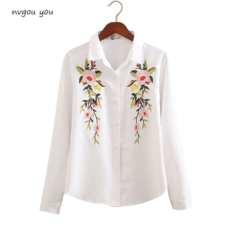 nvyou gou Floral Embroidered Blouse Shirt Women Slim White Tops Long Sleeve Blouses Woman Office Shirts Size S-2XL