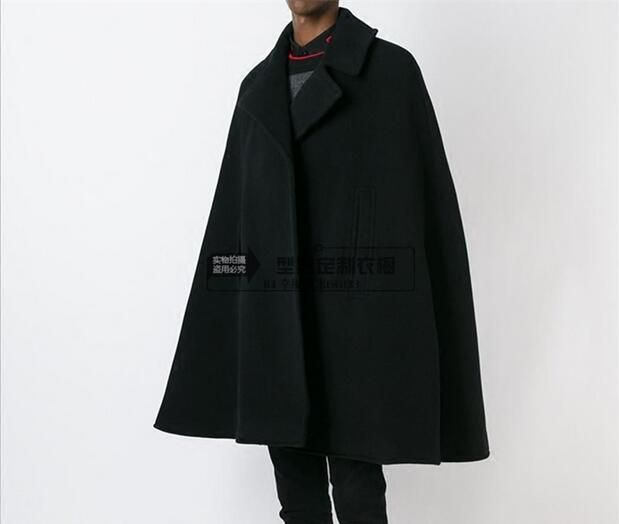 S-5XL!! Fashion men's Medium-long double breasted space cotton overcoat wizard hat space cotton trench outerwear
