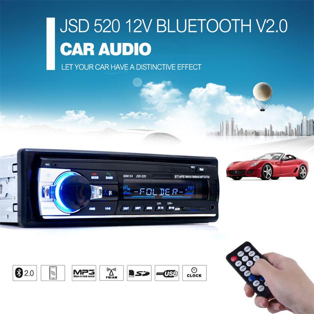 Voiture Radio Autoradio 12 v Bluetooth V2.0 JSD520 Voiture Stéréo In-dash SD USB MP3 MMC WMA Voiture Radio lecteur 1 Din FM Entrée Aux Récepteur
