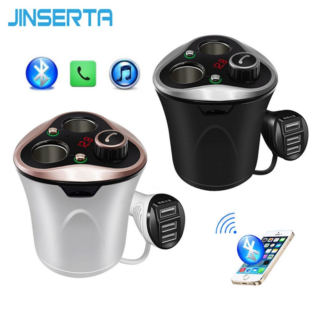 JINSERTA Bluetooth Car Kit FM Transmitter HandsFree TF Music MP3 Player Cigarette Lighter Adapter Splitter 3 Ports USB Charger