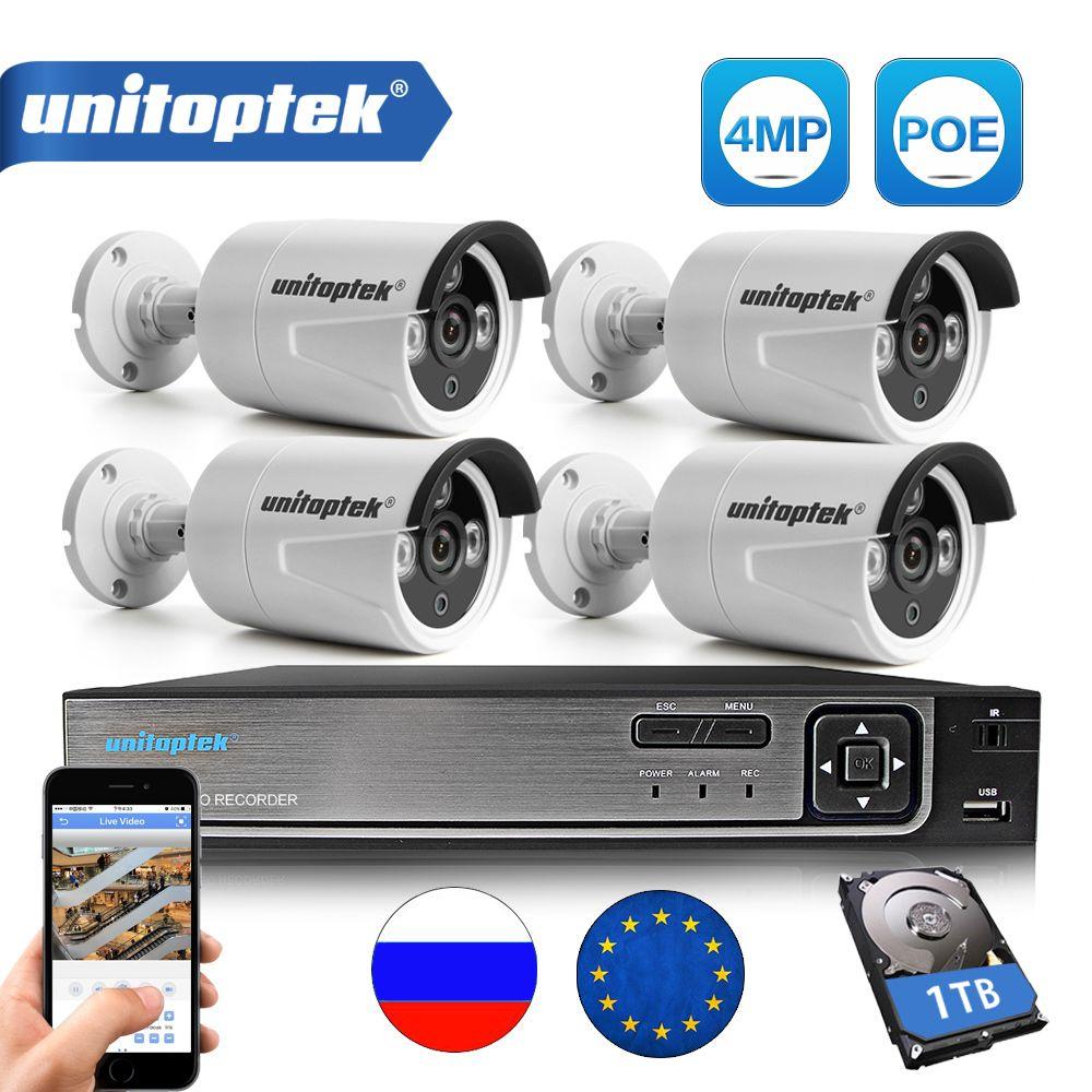 4CH CCTV SYSTEM 4K 48V POE NVR Kit Latest Chip HI3516D OV4689 4.0MP POE IP Camera Outdoor Video Security Surveillance System