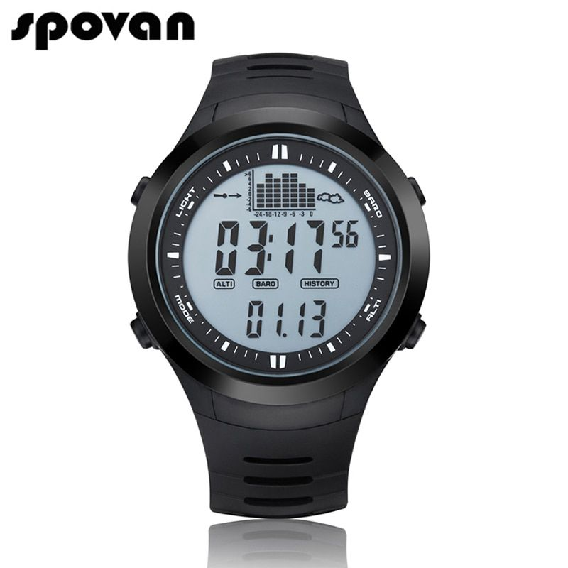 SPOVAN Digital Men's Sports Watch Outdoor 164FT Waterproof with LED Backlight/Fishing Remind/<font><b>Alarm</b></font> SPV709 SPV710