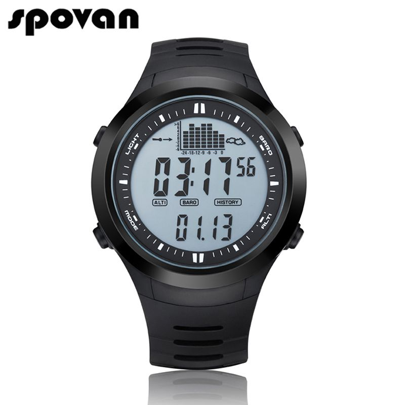 SPOVAN Digital Men's Sports Watch Outdoor 164FT Waterproof with LED Backlight/Fishing Remind/Alarm SPV709 SPV710
