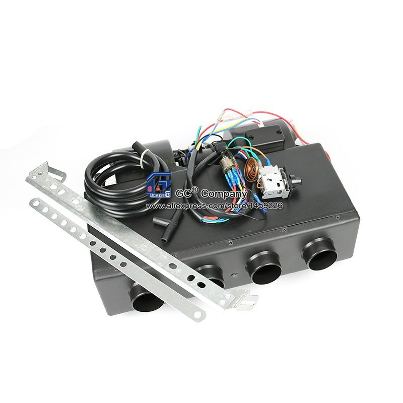 Universal 4 Hole A/C AC Evaporator Assembly Unit Air Conditioner & Heater 24V 12V Mini Bus Truck Van Street Red Rod