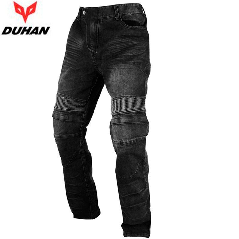 DUHAN Men's Motocross Racing Motorcycle Racing Jeans Black Casual Pants Wearproof Casual Pants With Knee Protector Guards