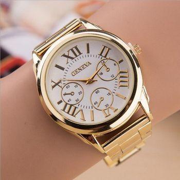 Nouveau Nouveau De Luxe Genève Mode Hommes Femmes Dames Montres Or Stailess Acier Chiffres Romains Quartz Analogique Montre-Bracelet reloj mujer