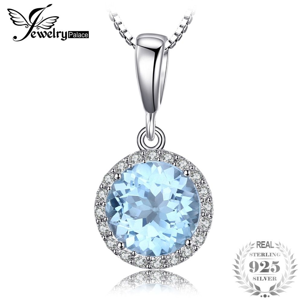 JewelryPalace 2.7ct Natural Sky Blue White Topaz Halo Solitaire Pendant 925 Sterling Silver Jewelry For Girl Not Include A Chain