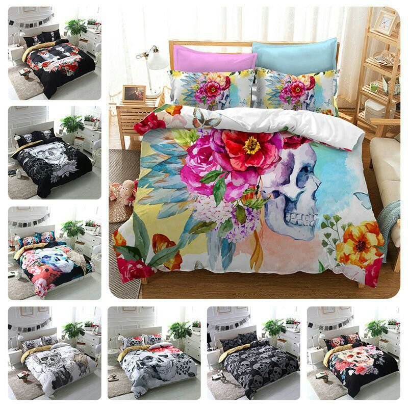 FANAIJIA 3d Flowers skull Duvet Cover With Pillowcases Sugar Skull Bedding Set Au Queen King Size Quilted Bedspread Bed Covers