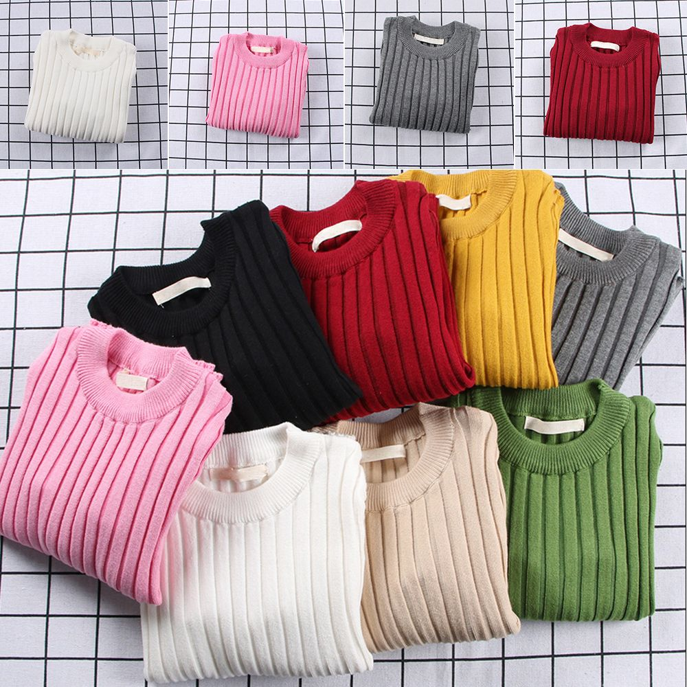 Children's Sweaters Kids Boys Girls Knitted Sweater Spring Autumn Toddler Sweaters Slim Knitwear Pullover Ribbed Cardigan Tops