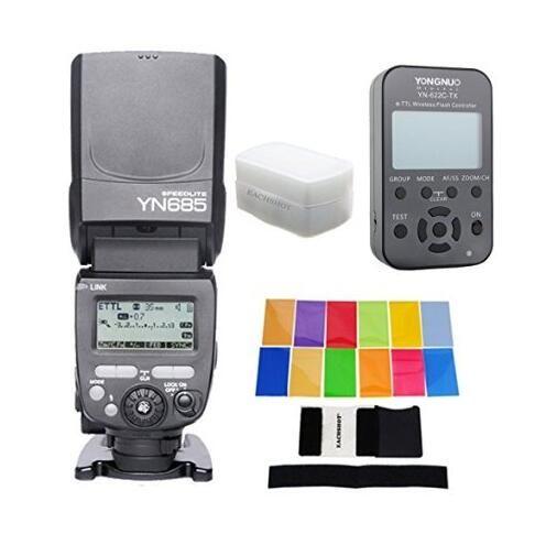 YONGNUO YN685 YN-685 (YN-568EX II Upgraded Version) Wireless HSS TTL Flash Speedlite for Canon + YN622C-TX + Filter + Diffusor