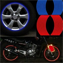 16 tiras reflectantes Motocross Bike motocicleta For14' motocicleta Auto llanta Moto pegatinas Car Styling