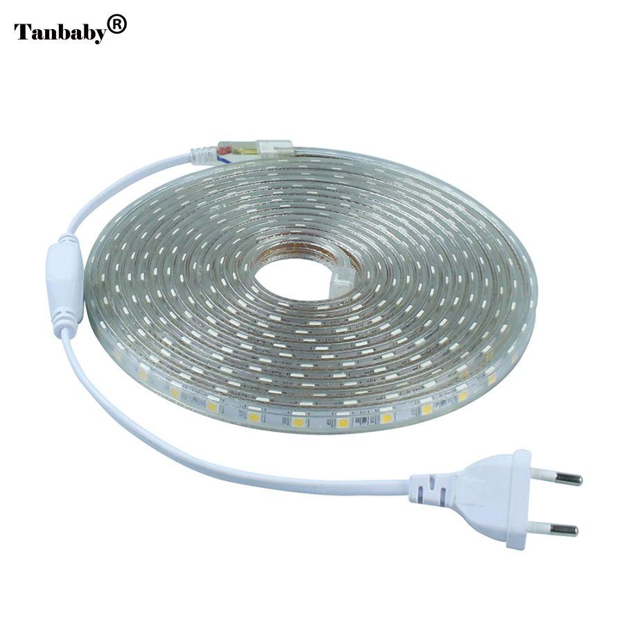 LED Bande IP67 Étanche SMD 5050 AC220V led bande flexible lumière UE Plug Power 60 leds/m 1 m 2 m 3 m 5 m 10 m 15 m Intérieur Extérieur Led