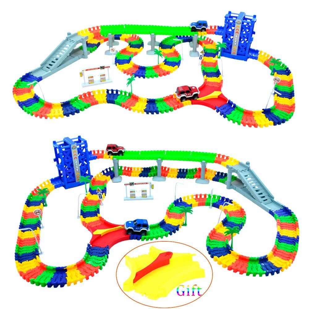 240 шт. гоночной трассе + 2 шт. светодиодный carmiraculous гоночной трассе изгиб Flex игрушечных автомобилей гоночный трек Набор DIY трек электрический ...