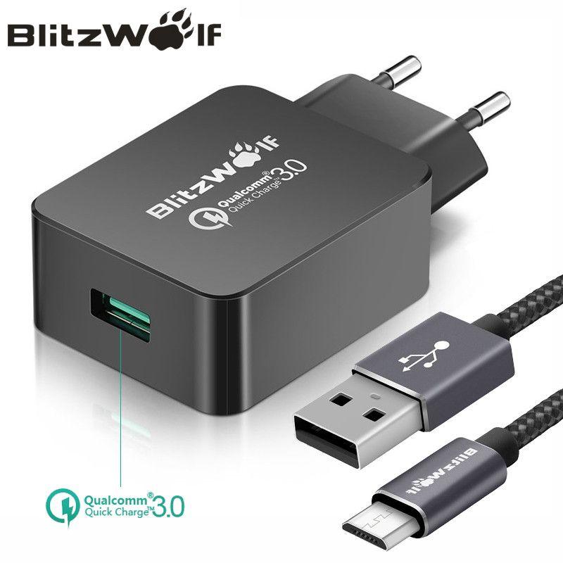 BlitzWolf QC3.0 USB Chargeur UE Téléphone Mobile Chargeur Adaptateur Mur voyage Chargeur Avec Câble USB Pour Xiaomi Pour Samsung Pour iPhone
