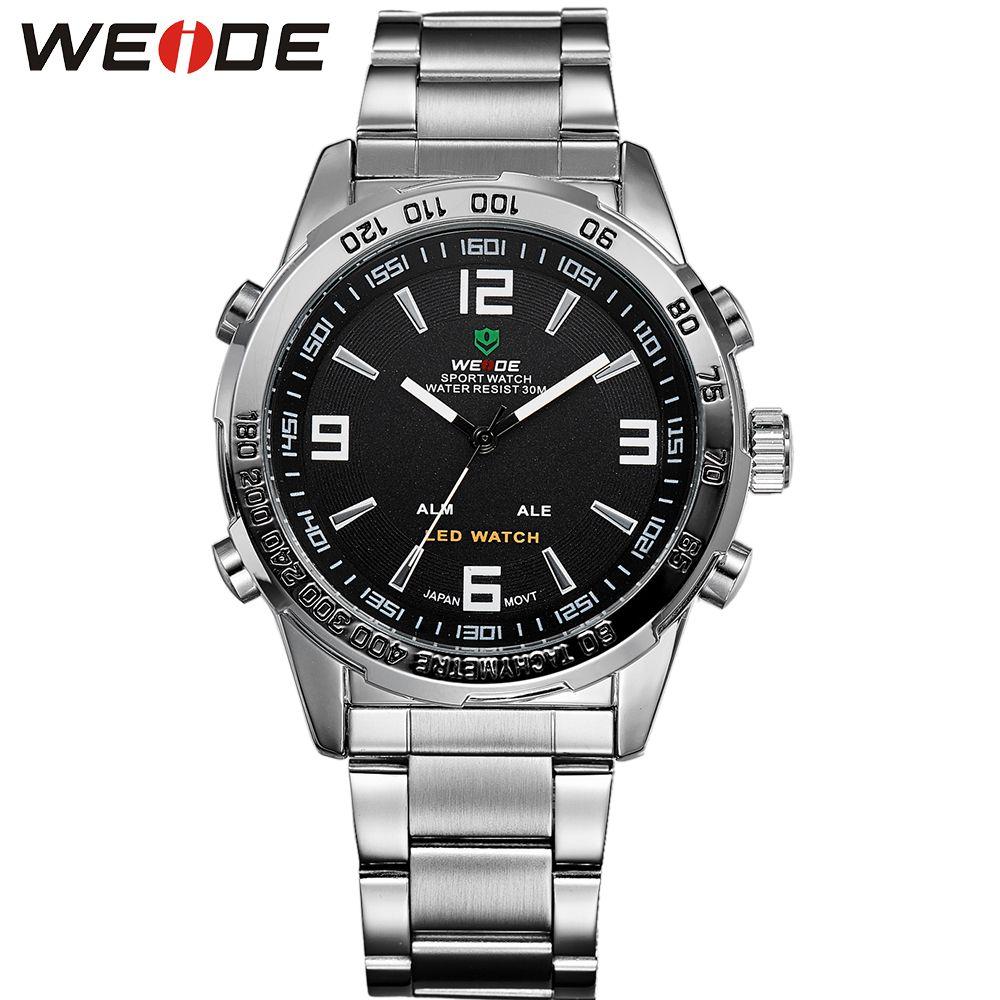 WEIDE Männer Sport Uhr Digital Quarz Business Schwarz Zifferblatt Armbanduhr Wasserdichte Uhr Military Armee Relogio Masculino Neue 2018