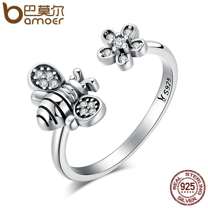 BAMOER Hot Sale 925 Sterling Silver Cute Bee & Poetic Daisy Flower Open Finger Ring for Women Sterling Silver Jewelry SCR086