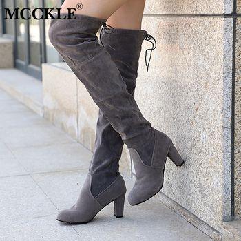 MCCKLE/модные женские зимние сапоги до бедра, большие размеры, женские ботфорты из искусственной замши на высоком каблуке, Прямая поставка