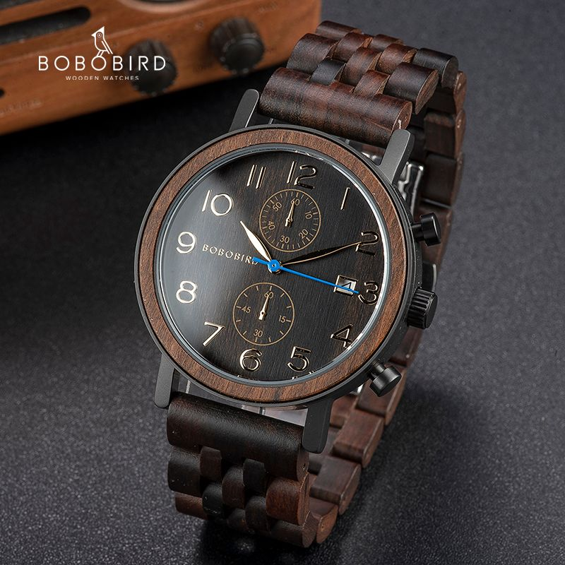 Relogio Masculino BOBO VOGEL Holz Männer Uhr Top Luxus Marke Japanischen Bewegung Quarz Handgelenk Uhren Großen männer Geschenke