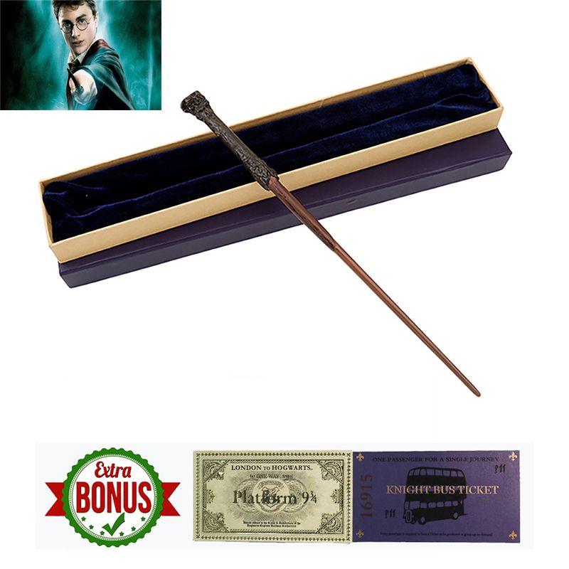 22 Kinds of Harri Potter Magic Wand Metal Core with Box Voldemort Ron Hermione Dumbledore Luna Magic Wand Hogwarts Train Ticket
