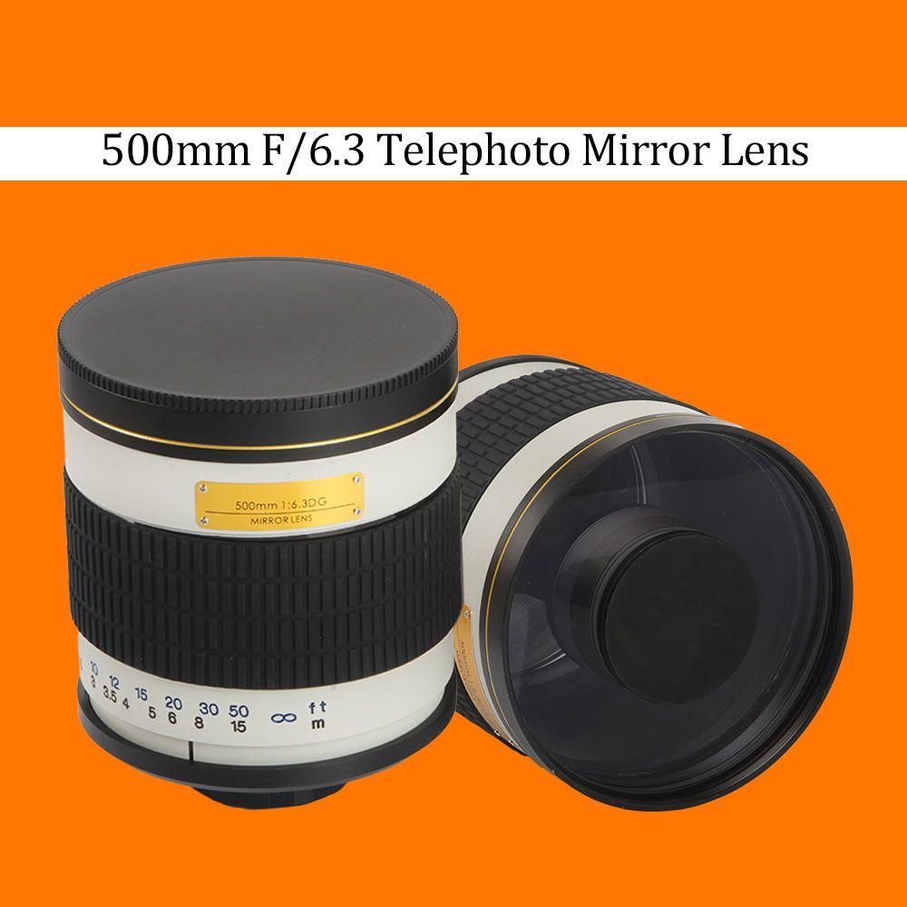Objectif miroir téléobjectif 500mm F/6.3 + bague adaptateur de montage T2 pour Canon Nikon Pentax Sony Olympus DSLR