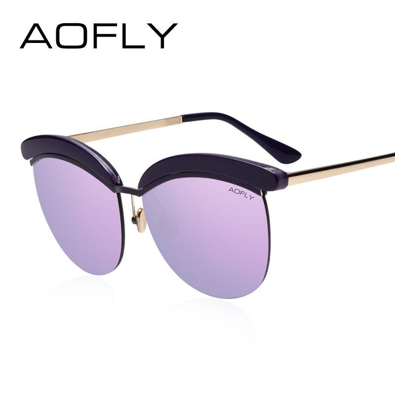 AOFLY Gafas de Sol Mujeres Del Ojo de Gato Gafas de Sol de Recubrimiento UV400 Lentes de Espejo Elegante Del Diseñador Gafas de Sol Gafas Oculos Femeninas AF7917