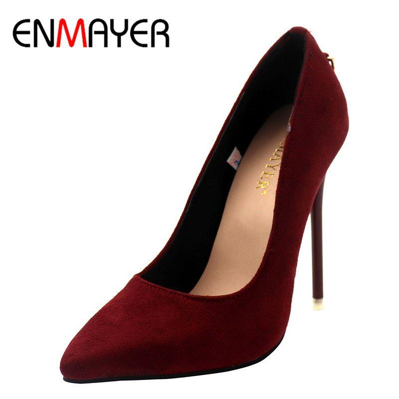 ENMAYER женская обувь модные женские туфли-лодочки на высоком каблуке пять цветов размер 34–43 туфли на высоком тонком каблуке классический бел...