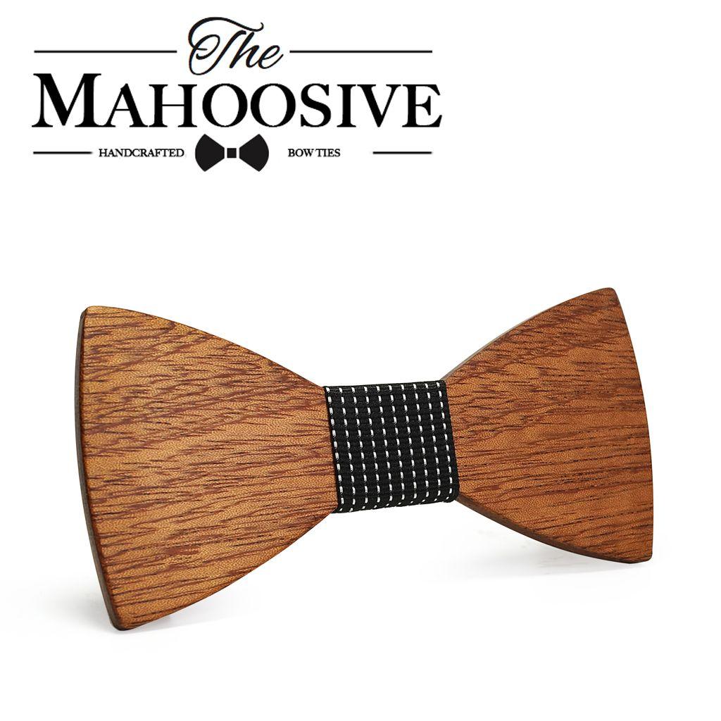 Mahoosive Fashion Men Wooden Bow Tie Set Accessories Handmade Good Wood Bow Ties For Men Wedding Party Neck Tie Gravata