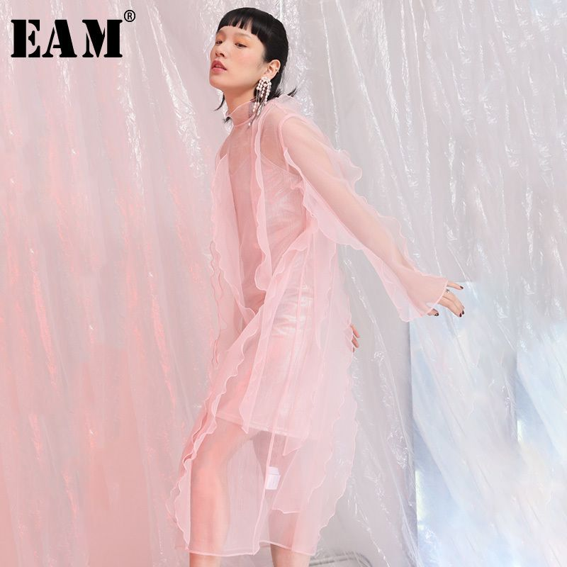 [EAM] 2018 New Summer High Collar Long Sleeve Black Perspective Ruffles Three-dimensional Temperament Dress Women Fashion JE5