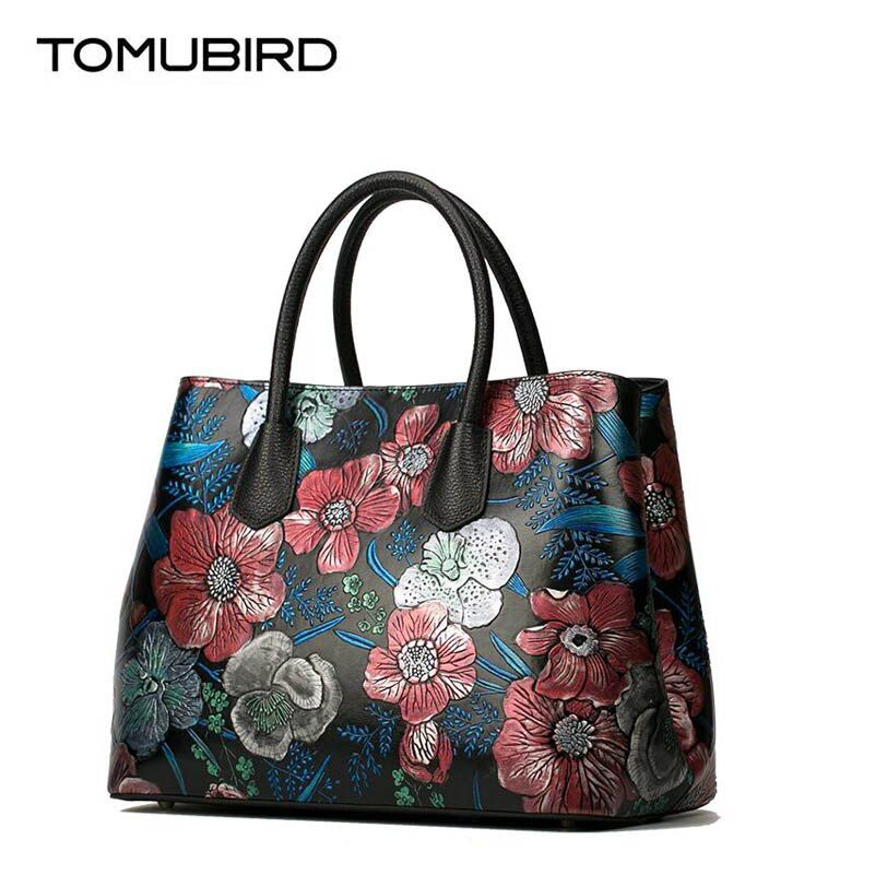 TOMUBIRD new superior cowhide leather Embossed rose genuine leather Luxury fashion women Leather Handbags Tote leather