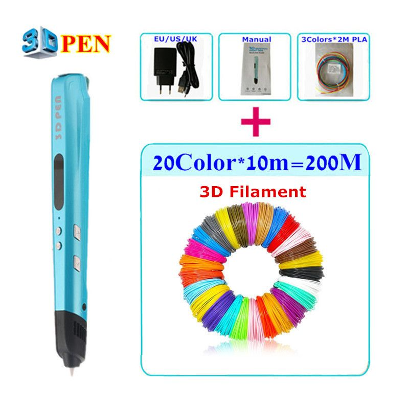 New Children Doodle Toy 3D Pen ADD 50M/100M/200M ABS Filament LCD Control Temperature Safe 3D Drawing Pens For Children Use