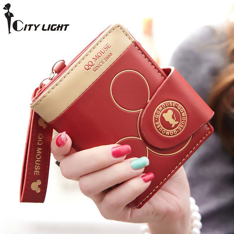 Femmes petit portefeuille cartoon mickey mignon porte-monnaie hasp porte-carte femmes portefeuilles et sacs à main femmes portefeuilles marque célèbre