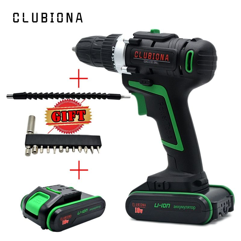 CLUBIONA Powerful 2 speed certificated 18V Lithium-ion cordless electric drill with li-ion battery and drill bits