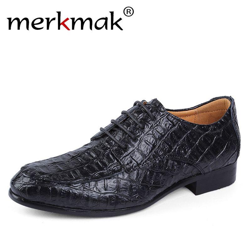 Merkmak/Брендовые мужские оксфорды из натуральной кожи Бизнес Для мужчин Крокодил Обувь Мужские туфли плюс Размеры свадебные туфли человек