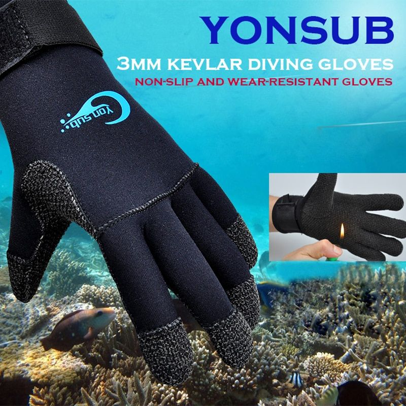 3MM Kevlar Diving Gloves Snorkelling Nautical Winter Fishing Black Gloves Anti-skid Wearing For Underwater Hunting YQ33