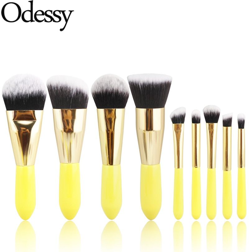 ODESSY Pro 9 Pièces Doux Cheveux Synthétiques Maquillage Brosses Jaune bois poignée ensemble complet cosmétique make up brosse pour le visage eye beauté