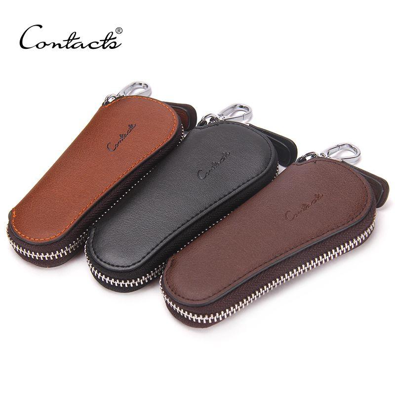 CONTACT'S hommes véritable sac en cuir de vache clé de voiture portefeuilles mode femmes gouvernantes porte-clé Carteira porte-clés fermeture à glissière étui à clé