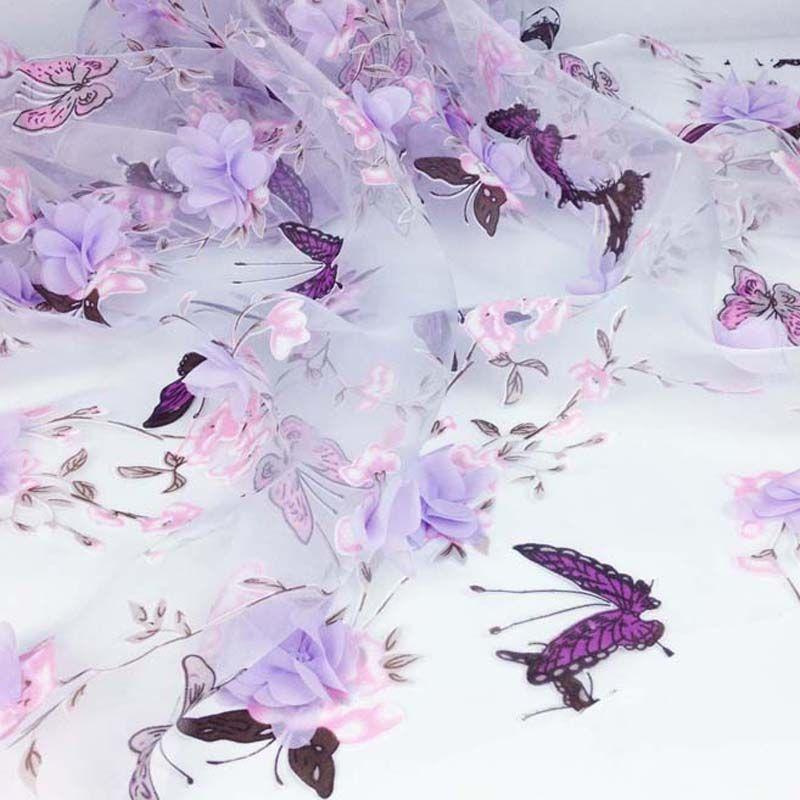 Vêtements couture Organza tissu pour robe, rideau papillon impression tissu, bricolage 3D mousseline de soie fleur dentelle, mariage robe de mariée tissu Yard