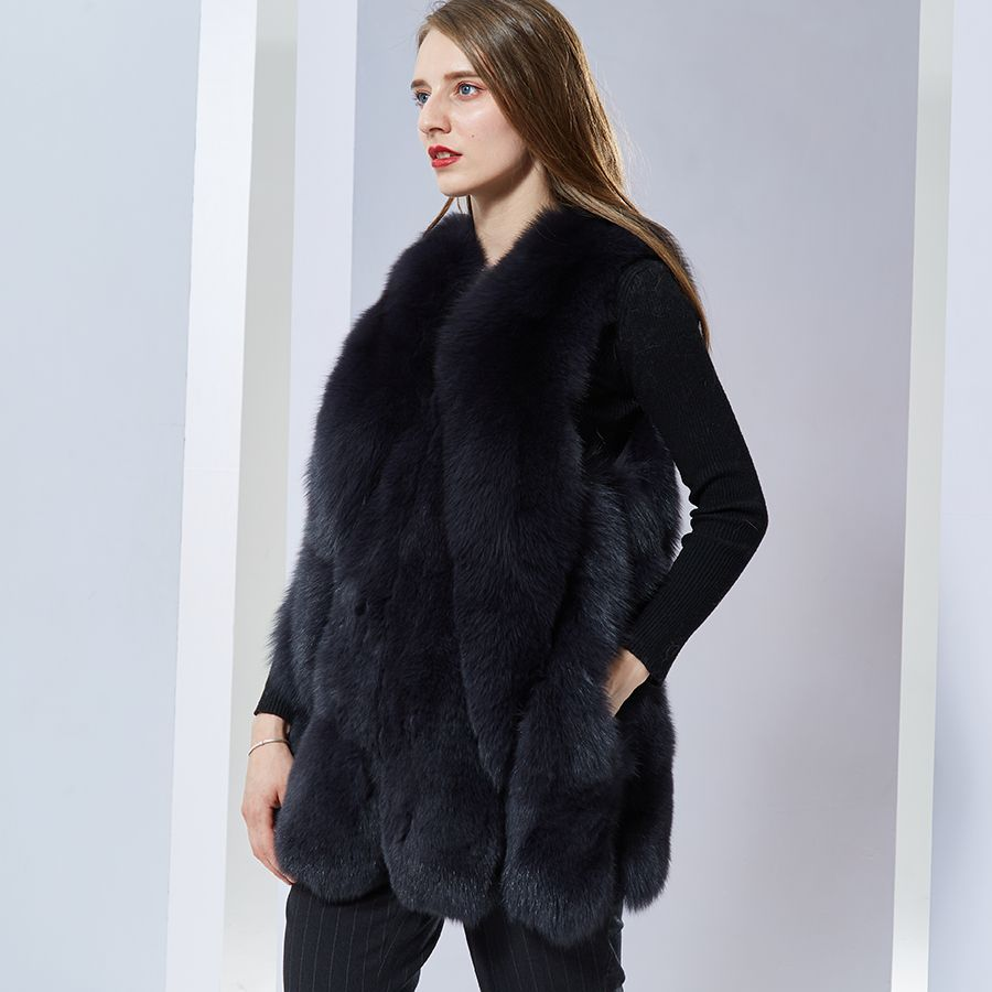 Women Warm Real Fox Furvest Short medium Winter Furcoat Natural Blue Fox Furwaistcoat for Women
