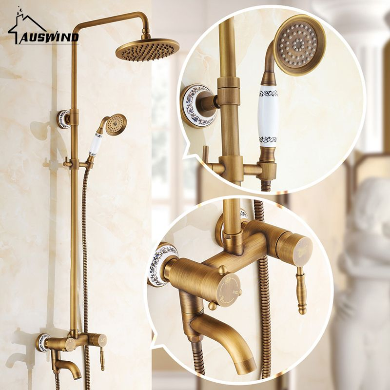 Antique Copper Carving Bath Shower Ceramic Quality Shower Bathroom Sanitary Ware Shower Set Wall-mounted Mixer Taps